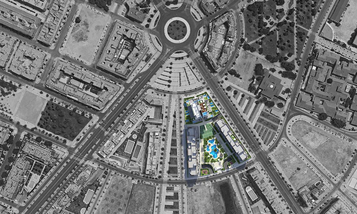 Piscinas Urbanización Torre del Agua Cordoba-cenital-baja