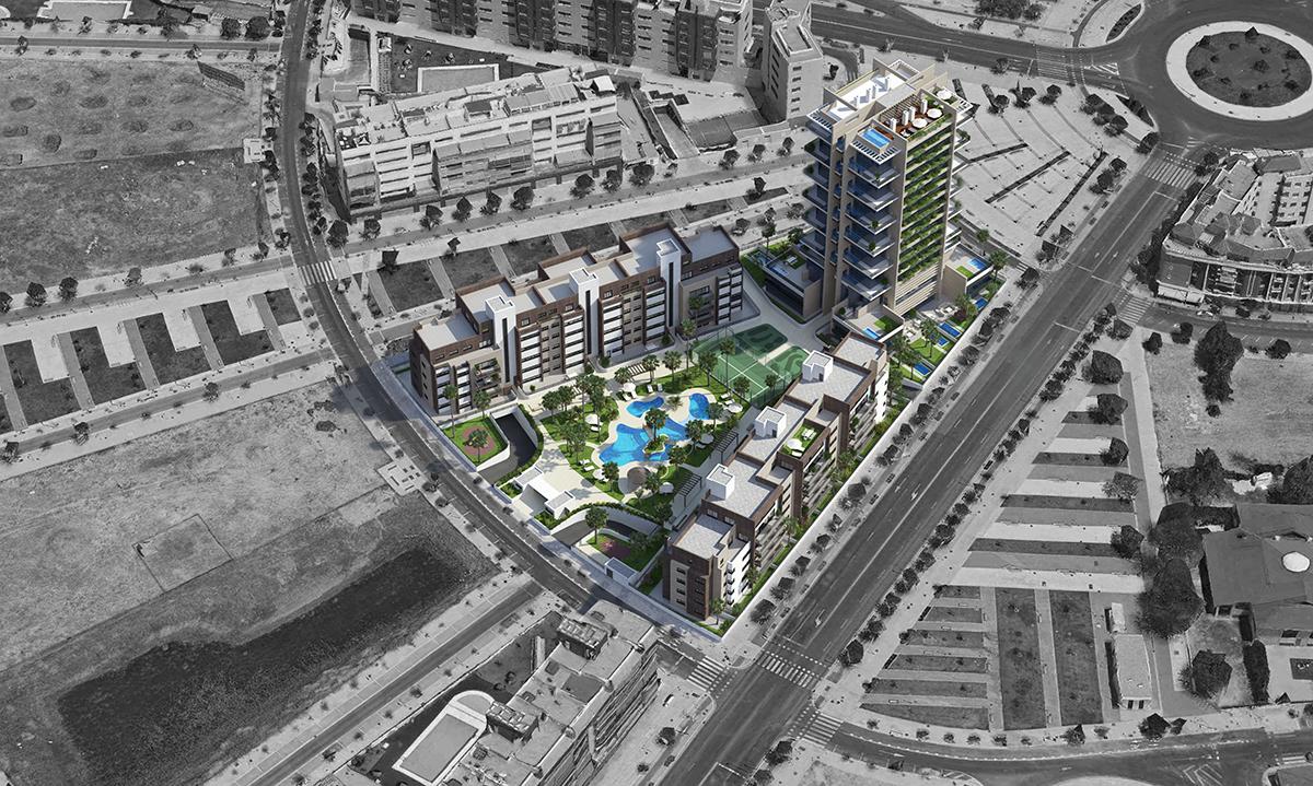 Piscinas Urbanización Torre del Agua Cordoba-impla-bloque-baja